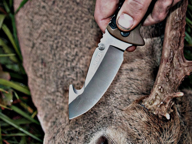 Deer dressing with Gutting knife