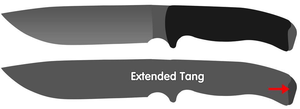 Extended tang fixed knives
