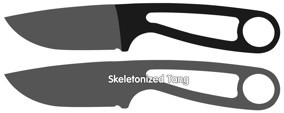 Skeletonized tang fixed knives
